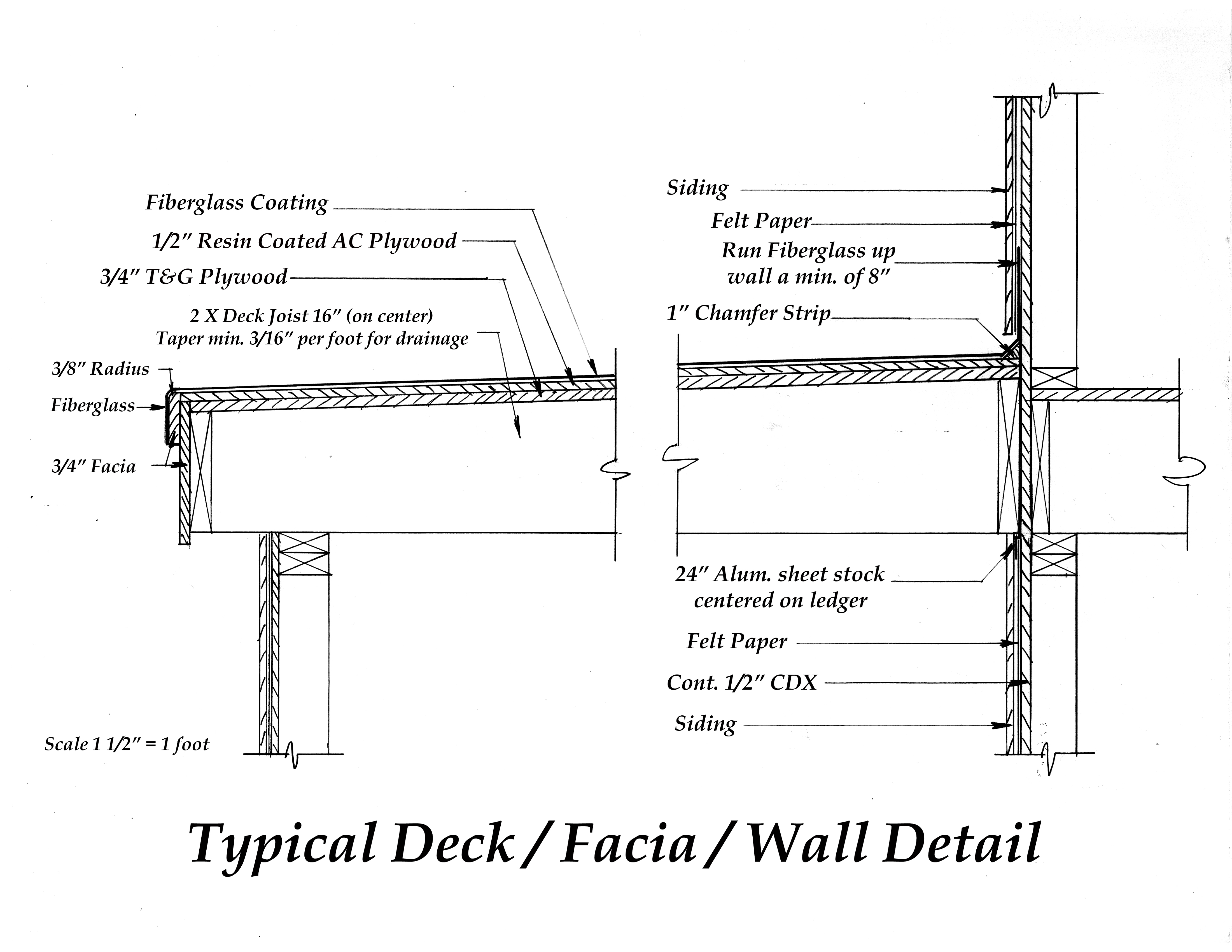 Fiberglass deck architectural drawings for Drawing deck plans